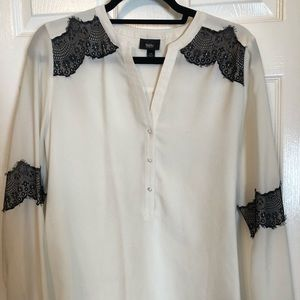 White Blouse with Black Lace